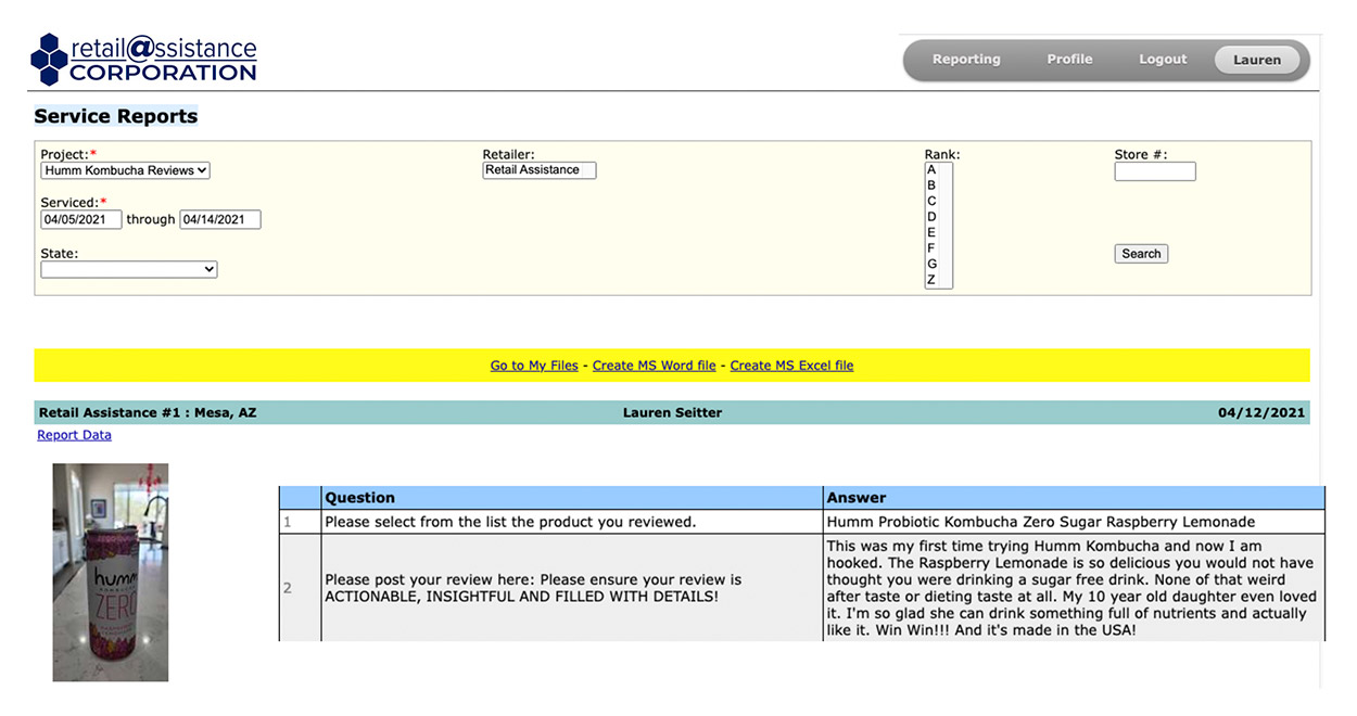 Online Review Reporting - Client Dashboard